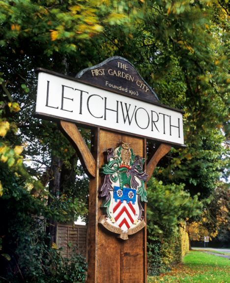 Town sign on the outskirts of Letchworth Garden City, Hertfordshire, England.